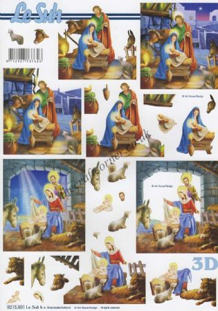 Christmas Nativity Scenes 3d Decoupage Sheet by Le Suh